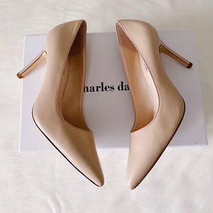 👠CHARLES DAVID Denise Pointed Leather Pumps Nude